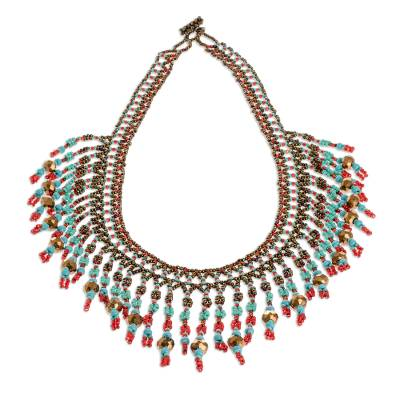 Beaded waterfall necklace, 'Symphony of Color in Bronze' - Beaded Statement Necklace in Bronze