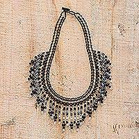 Beaded waterfall necklace, 'Symphony of Color in Black' - Black Beaded Waterfall Necklace