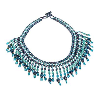 Beaded waterfall necklace, 'Symphony of Color in Blue' - Hand Crafted Blue Beaded Necklace
