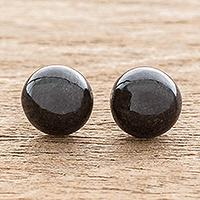 Jade stud earrings, 'Serene Style in Black' - Black Jade Stud Earrings