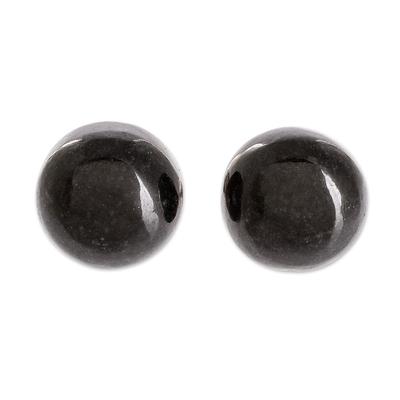 Black Jade Stud Earrings