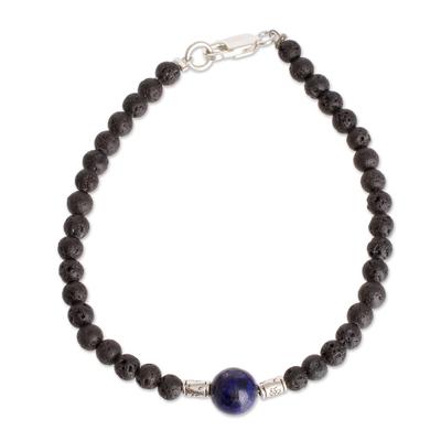 Beaded Bracelet with Lapis Lazuli and Lava Stone