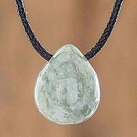 Jade pendant necklace, 'Strong Energy in Light Green' - Light Green Jade Pendant Necklace