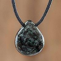 Jade pendant necklace, 'Strong Energy in Dark Green' - Guatemalan Jade Pendant Necklace
