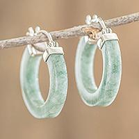 Jade hoop earrings, 'Conexion in Light Green' - Light Green Jade Hoop Earrings