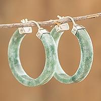 Jade hoop earrings, 'Synchronicity in Light Green' - Handmade Jade Hoop Earrings