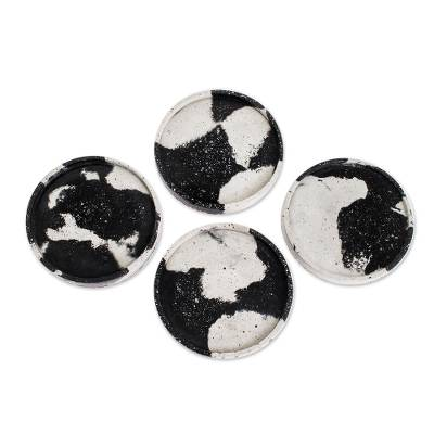 Round Grey Cement Coasters (Set of 4)