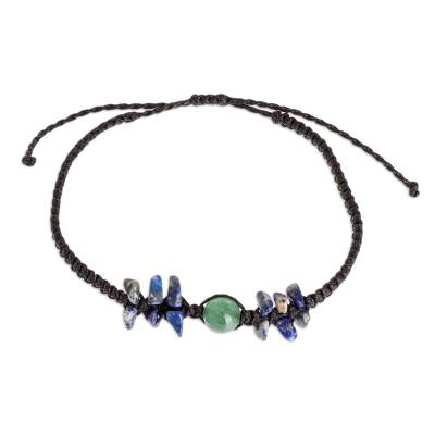 Quartz and Lapis Macrame Bracelet
