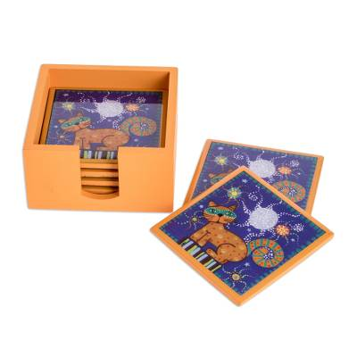 Handcrafted Cat Motif Coasters (Set of 6)