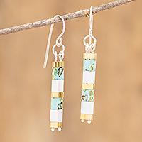 Beaded dangle earrings, 'Turquoise Treasure' - Handmade Bead Dangle Earrings