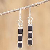 Beaded dangle earrings, 'Crosswalk' - Black and Silver Beaded Earrings