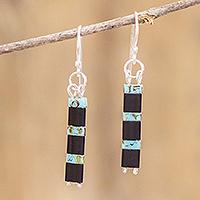 Beaded dangle earrings, 'Turquoise Night' - Glass Beaded Earrings
