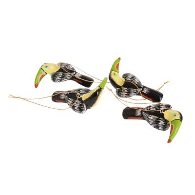 Artisan Crafted Toucan Ornaments (Set of 4)