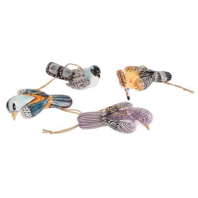 Assorted Bird Ornaments (Set of 4)
