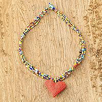 Beaded pendant necklace, 'Vibrant Love'