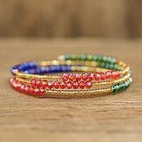 Beaded wrap bracelet, 'Tricolor Trend'