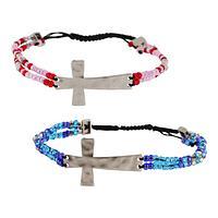 Keeping Faith - Beaded Cross Adjustable Bracelet
