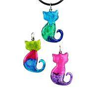Feline Mystique - Hand Painted Colorful Kitty Silhouette Necklace