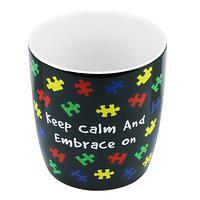 Embracing Autism - Keep Calm And Embrace On Ceramic Autism Awareness Mug