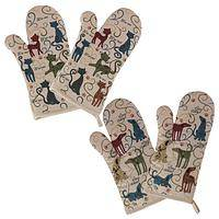 Everybody in the Kitchen - Set of 2 Festival Cats and Dogs Oven Mitts