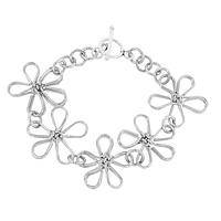 Daisy Chain - Handcrafted Silver-Plated Floral Bracelet from Kenyan Women