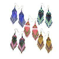Vibrant Shimmers  - Handcrafted Sterling Silver Beaded Chandelier Earrings