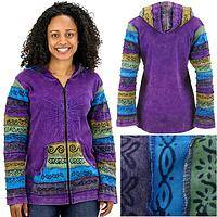 Flight of Fancy - Handmade Colorful Embroidered Cotton Butterfly Hoodie