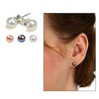 Seafaring Delight - Cultured Freshwater Pearl and Sterling Silver Stud Earrings