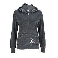 Grace and Courage - Scrolling Floral Diabetes Awareness Ribbon Burnout Hoodie
