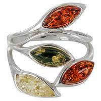 Splendor of the Trees - Sterling Silver and Baltic Amber Branching Ring
