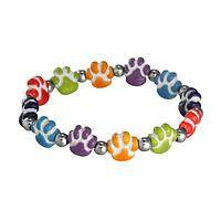 Rainbow of Paws - Handcrafted Colorful Ceramic Beaded Paw Stretch Bracelet