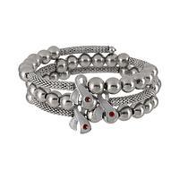 Meaningful Metal  - Diabetes Awareness Metal and Glass Wrap Bracelet