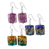 Enchanting Depths - Swirled Fine Art Glass and Silver-Plated Earrings