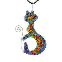 Rainbow Gem Curled Kitty - Glittering Gemstone and Silver-Plated Handmade Cat Necklace