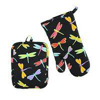 Winged Glory - Colorful Cotton Dragonfly Oven Mitt and Pot Holder Set