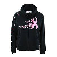 Garden of Hope - Cotton Ribbon of Flowers Breast Cancer Awareness Hoodie