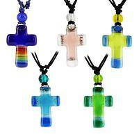 Vibrant Faith - Colorful Artisan Glass Cross Faith Necklace