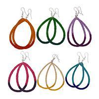 Rings of Brilliance - Handmade Sisal Grass Dip-Dyed Colorful Hoop Earrings