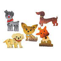 Cute Together - Wooden Dog Puzzle Magnet
