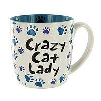 Crazy Cat Lady.... - ...And Proud of It! Funny Ceramic Mug with Paw Print Design