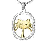 Mr. Whiskers - Stylish Modern Kitty Pendant in Sterling Silver and Brass