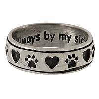 Faithful Friend - Always By My Side Sterling Silver Heart Paw Print Ring
