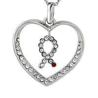 Heart of Support - Silver-Tone and Crystal Accent Diabetes Awareness Pendant