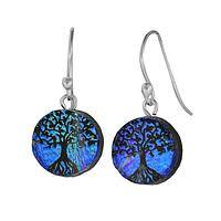 Tree of Life  - Dichroic Glass and Sterling Silver Tree of Life Earrings