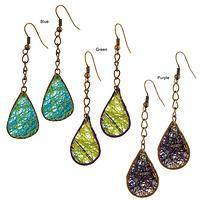 Weaving With Light - Handcrafted Agave Fiber and Wire Teardrop Dangle Earrings