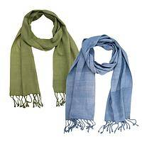 Natural Style - Hand Made Guatemalan Cotton Scarf in Subtle Tones of Nature