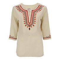 Autumn Cascade - Lavishly Hand-Embroidered Fair Trade Cotton Tunic