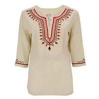 Autumn Cascade - Lavishly Hand-Embroidered Fair Trade Cotton Tunic