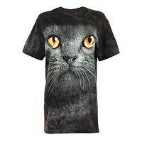 Big Kitty Cat Fun Shirt - Black Feline Facial Cotton T-Shirt
