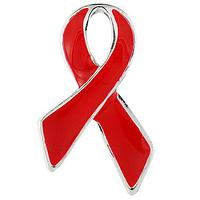 The Red Ribbon - Hand Painted Metal Classic Red Awareness Ribbon Lapel Pin